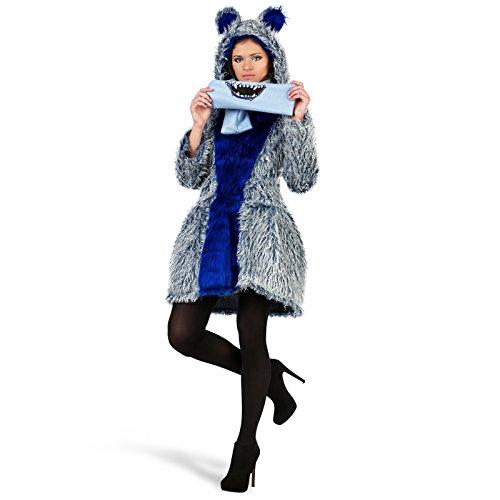 Elbenwald Monster Mantel Kostüm Schal blau süßes Damen Kleid Knöpfe flauschig Kapuze Faschings Verkleidung Winter Mantel - L