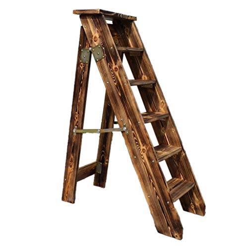 ZRXJQ-Klappstufen Retro faltende 5 Schrittleitern hölzerne Stepladern Hocker Stairway Schritt Stuhl für Haus und Bibliothek, American Style Stepladers, Heavy Duty