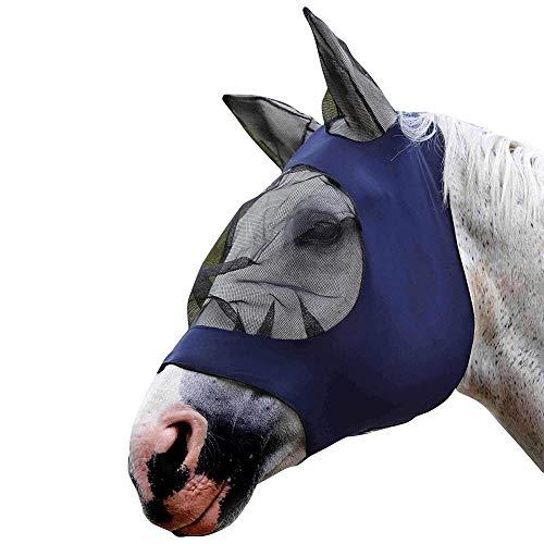 AEROBATICS Fliegenmaske Gesichtsmaske Pferde,Fliegenmaske Anti UV mit Ohrenschutz Abnehmbare Nasenteil schützt Das Pferd vor UV-Strahlen
