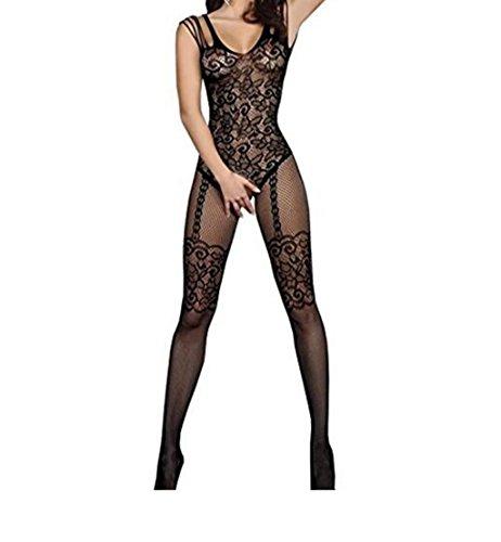 YUNI® Damen Unterwäschen Reizwäsche Netz Strumpfhose Bodystockings Hohle Blumen Jumpsuit Frauen Bodysuit Nachtwäsche (Kostüme Bringen Sie Sexy)
