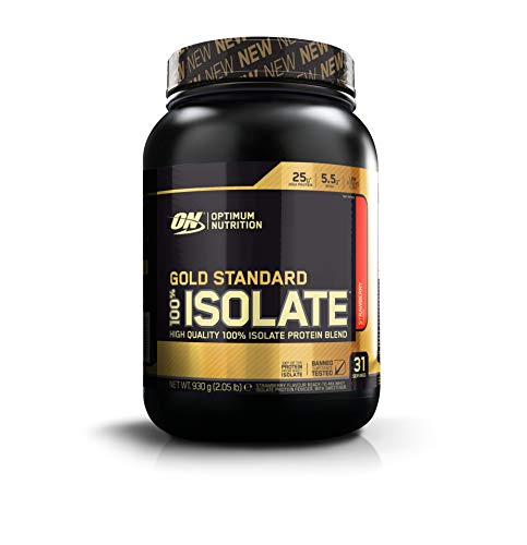 Optimum Nutrition Gold Standard Isolate Protein Pulver (mit Glutamin und Aminosäuren. Whey Isolate Eiweisspulver von ON) Strawberry, 31 Portionen, 0,93kg