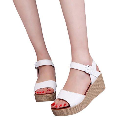 Frauen hochhackige Peep Toe Sandalen, Kaiki Frauen Art und Weisesommer Steigung mit Flipflop Sandelholz Schaffell Schuhen White