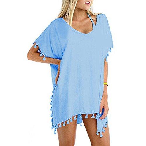 BYSTE Abito Donna Estate Vestito Chiffon Nappa Costume da bagno Bikini Beach Cover up Copricostumi e parei Copricostume da Bagno Gonna di Vacanze Spiaggia Protezione solare (Blu)