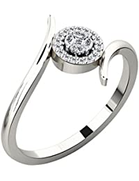 Silvernshine 0.14 Cts Round Cut Sim Diamond Baypas Engagement Ring In 14KT White Gold PL