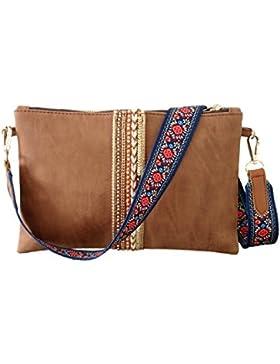 Clutch Umhängetasche - Designer Messenger Bag Braun mit Taschengurt Bunt Blumen und Kette Gold - Abendtasche,...