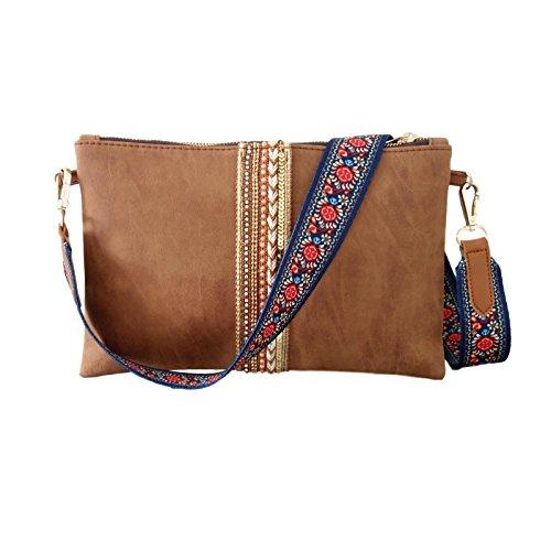 Clutch Umhängetasche - Designer Messenger Bag Braun mit Taschengurt Bunt Blumen und Kette Gold - Abendtasche, Ausgehtasche, Brauttasche