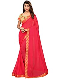 Pratham Blue Women's Georgette Saree with Blouse Piece (Pink Free size)
