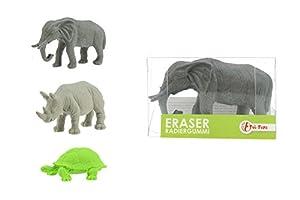 toi-toys-gomme 3d rinoceronte, elefante, tortuga accesorios de fiesta, 46892z, multicolor