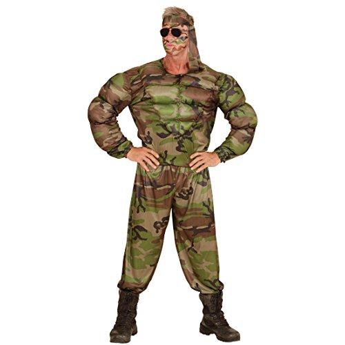 Amakando Armee Herrenkostüm Soldat Soldaten Muskel Kostüm M 50 Army Muskelkostüm Soldatenkostüm Offizier Bundeswehr Verkleidung Männer Militär Krieger ()