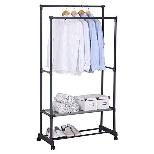 WOLTU SR0022-1 Kleiderständer Garderobenständer mit dem Ablage , Teleskop Wäscheständer auf Rollen , ausziehbar , Grau (83x39x161cm)