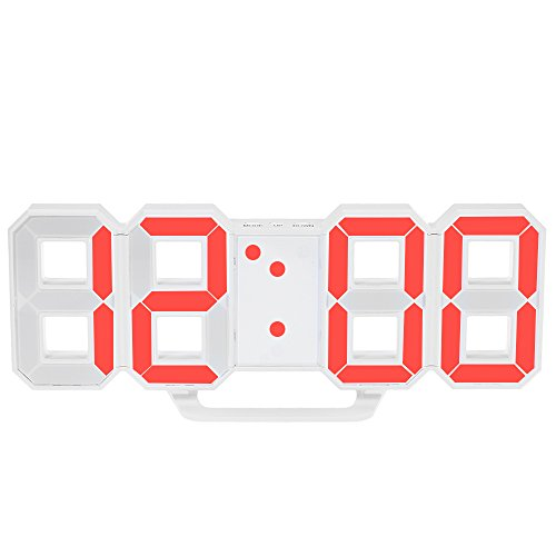 Decdeal - Multifuncional LED Reloj de Pared Digital 12H/24H con Alarma y Snooze, Luminancia Ajustable