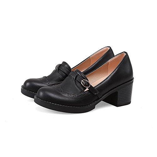 AllhqFashion Femme à Talon Correct Couleur Unie Boucle Matière Souple Rond Chaussures Légeres Noir