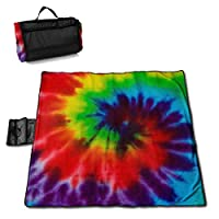 """MZZhuBao Rainbow Spiral Tie Dye Folding Portable Picnic Blanket 57"""""""" x59 Outdoor Waterproof Sand Proof Beach Blanket Mat with Tote Bag for Yard Lawn"""