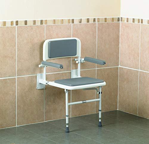 Days, chaise de douche murale, avec dossier et bras, siège de douche rabattable, hauteur réglable, cadre en aluminium, accoudoirs rembourrés et relevables pour faciliter les transferts de personne