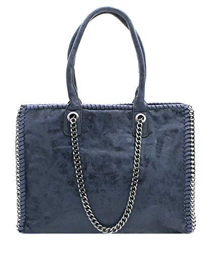 Sac Cabas Femmes Grande Taille Format A4 - Sac de Cours lycée fourre-Tout - Sac à Main porté épaule XL Porte-Document-Bleu