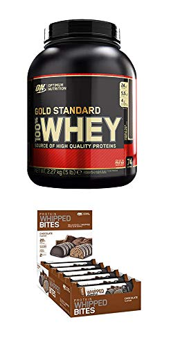 Optimum Nutrition Gold Standard Whey, Double Rich Chocolate, 2.27kg + 12x 76g Whipped Bites Proteinriegel Chocolate (Optimum Protein 12 Nutrition Whey)
