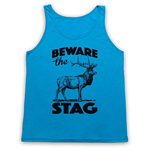 Beware The Stag Stag Do Slogan Tank-Top Weste Neon Blau