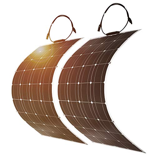 DOKIO 2PC Solar Panel 100W 12V 24v Monocrystalline Flexible waterproof  Lightweight Solar Panel Bendable for Van Motorhome Caravan RV Boat Cabin  Camper