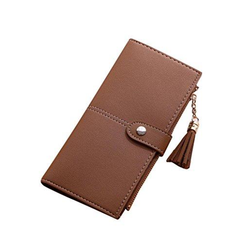 Portafoglio Donna, Tpulling Borsa della borsa della moneta della nappa del raccoglitore lungo delle donne (Red) Coffee