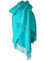 Echarpe étole chale en laine et cachemire grande épaisse et chaude (BLEU TURQUOISE)