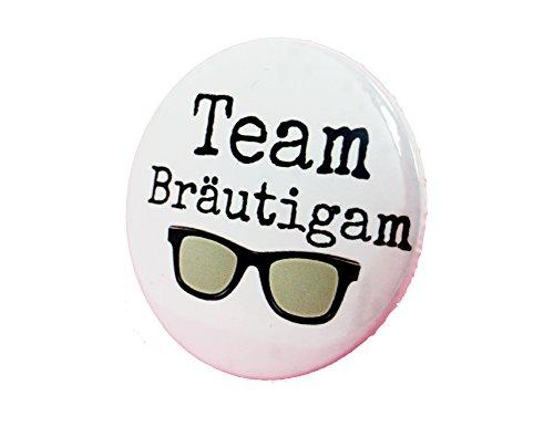 Team Bräutigam Button - Anstecker Sonnenbrille Mann cool JGA Junggesellenabschied 3,8 cm (Und Braut Bräutigam Sonnenbrille)
