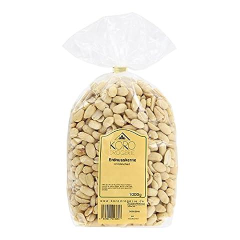 Erdnüsse Geschält ● Erdnusskerne Roh Blanchiert ● Ungesalzen ● Naturbelassen ● Ohne Zusätze ● 1 kg Packung ● Leckerer Snack ● (Versorgung Salz)