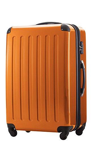 HAUPTSTADTKOFFER® 2er Hartschalen Kofferset · Koffer 87 Liter (63 x 42 x 28 cm) + Koffer 130 Liter (75 x 52 x 32 cm) · Hochglanz · TSA Zahlenschloss · SILBER Orange