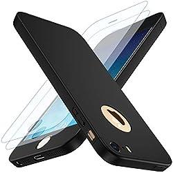 Losvick Coque iPhone 5/5S, iPhone Se Housse 360° Complète PC Matière [2× Film de Verre trempé] Étui 3 en 1 Antichoc Ultra Mince Case Anti-Rayures, Bumper Protection pour iPhone 5/5s/SE - Noir