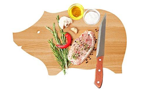 Tagliere a forma di maialino, in legno di faggio, dimensioni 30 x 20 cm, realizzato a mano