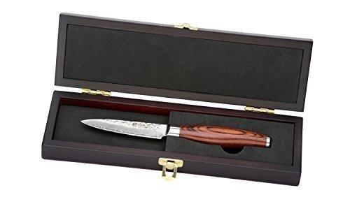 Wakoli Damastmesser (Officemesser) japanischer Damaststahl VG-10, mit Holzverpackung, Wakoli Premium Serie