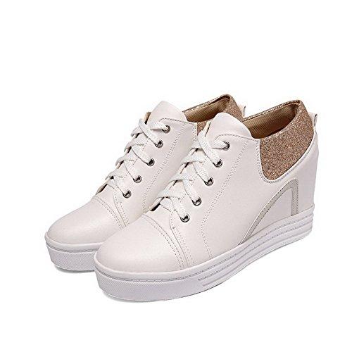 VogueZone009 Femme Rond à Talon Haut Couleurs Mélangées Lacet Chaussures Légeres Blanc