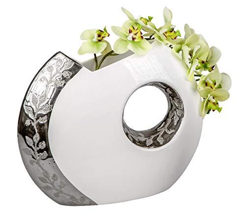 Lifestyle & More Moderne Deko Vase Blumenvase Tischvase aus Keramik weiß/Silber Höhe 26 cm