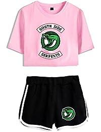 Riverdale Crop Top und Hosen 2 Stück Kleidung Casual Crop T-Shirt und Shorts Set