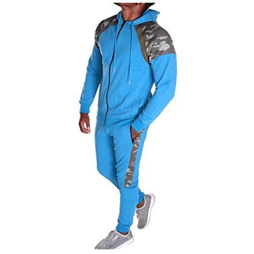 Kind Ara Blau Kostüm - Herren Camouflage Trainingshose+Kapuzenjacke Jogginganzug Army Trainingsanzug Jogging Kostüm Sweatshirt Sportanzug Sweatjacke Hose Anzug Fitness Yoga Trainingshose Sporthose Sweater Pullover