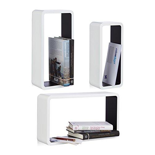 Relaxdays 10021789_362 Étagères murales cubes rectangles lot de 3 carrées livres décoration, blanc-noir