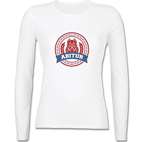 Abi & Abschluss - ABITUR 2017 Badge mit Eule - tailliertes Longsleeve / langärmeliges T-Shirt für Damen Weiß