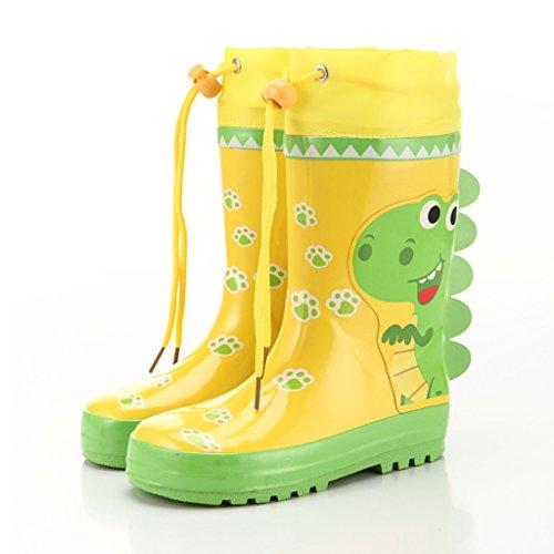Liling Kinder Regen Stiefel Jungen und Mädchen Cartoon Dinosaurier Anti-Rutsch Gaotong Baby Wasser Schuhe Stiefel (Size : - Regen Kleinkind-gelb Stiefel