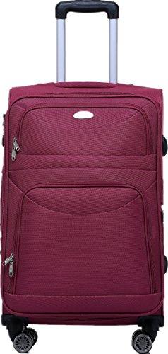 BEIBYE 8009 TSA Schloß Stoff Trolley Reisekoffer Koffer Kofferset Gepäckset (Rot, M) - 2