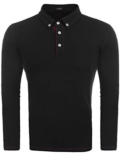 COOFANDY Herren Poloshirt elegante Langarmshirts regular fit Langarmpolo für Männer Schwarz L (Polo Ralph Lauren-männer Knopf)
