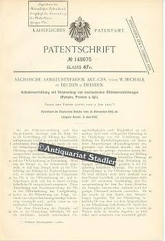 Patentschrift Nr. 148075. Klasse 47 e: Schmiervorrichtung mit Verwendung von mechanischen Ölfördervorrichtungen (Pumpen, Pressen u. dgl.). Zusatz zum Patente 122600 vom 9. Juni 1900.