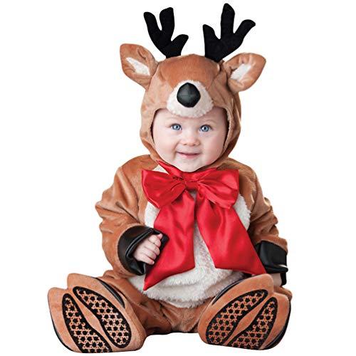 MisFox Kleinkind Weihnachtsoutfit Babykleidung Strampler Lange Hülse Spielanzug Baby Kids Dress Up Santa Schneemann Elk Elf Kostüm,Größe:80-100 (Dress Up Kleidung Stehen)