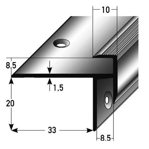 Laminat-Treppenkante / Winkelprofil, Einfasshöhe 8,5 mm, 33 mm breit, Aluminium eloxiert, gebohrt