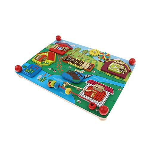F Fityle Niedliche Latch/Schloss und Riegel/Laschen Board Lock Spielzeug, Entwicklung Kinder Hand-Gehirn Koordination - Bauernhof (Schlösser Und Riegel)