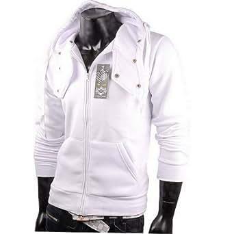 Sweatjacke Kapuzenpullover Pullover Herren Pulli Hoodie (S, Weiß)
