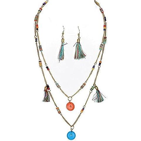 Beyoutifulthings Donna Collana Acciaio Inox due Modelli con colorati Nappe e Micro perle Ciondolo Piastra legno in Colori Lunghezza 55.9cm 1 Paio Orecchini multicolore 6.4cm Set
