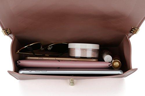 Bella Positano Damen Gesteppte Schultertasche Handtasche Damentaschen in mattem mit Kettenriemen Plus Hellrosa