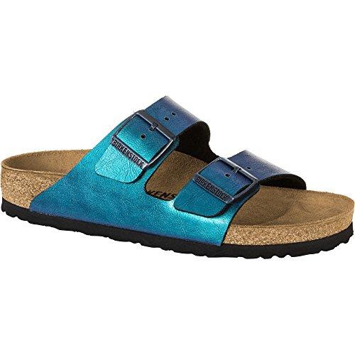 Birkenstock Arizona   Sandalias con Punta Abierta de Sintético Mujer, Color Azul, Talla 37_Schmal