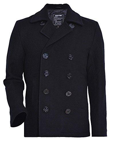 Seibertron Herren Wollmantel Pea Coat USN Marine Jacke Herren Navy Peacoat Mantel Winterjacke Übergangsjacke (schwarz, L) (Pea-jacke)