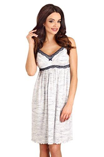 Lupoline Charmantes Stillnachthemd / Umstandsnachthemd in verschiedenen Farben, Gr. 36-44 Weiß mit Blau