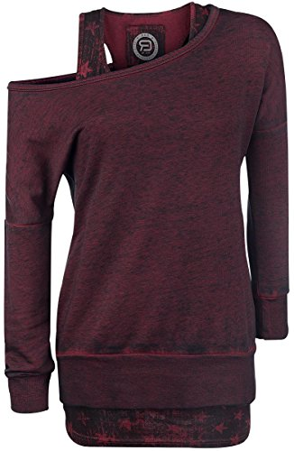 R.E.D. by EMP 2 in1 Burnout Sweatshirt Felpa donna bordeaux XXL